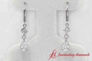 Customized Pear Diamond Dangle Drop Earring In White Gold