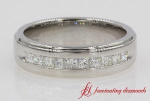 Customized Princess Cut Channel Wedding Band In Platinum
