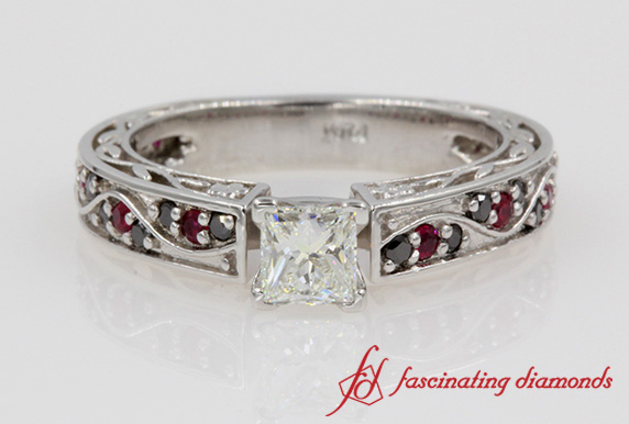 Customized Princess Cut Diamond Vintage Ring In Platinum