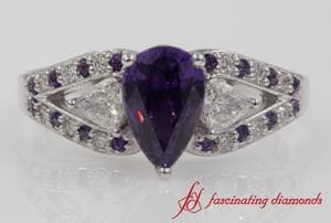 Purple Topaz Trillion Diamond Ring
