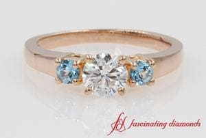 Customized Round Three Stone Ring With Ice Blue Topaz