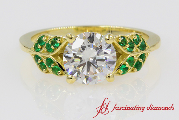 Round Diamond Emerald Leaf Ring