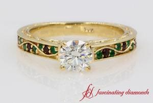 Customized Round Diamond Ring With Gemstone In Yellow Gold