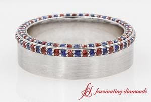Customized Ruby And Sapphire Mens Wedding Band