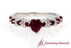Customized Ruby Heart Shaped Ring