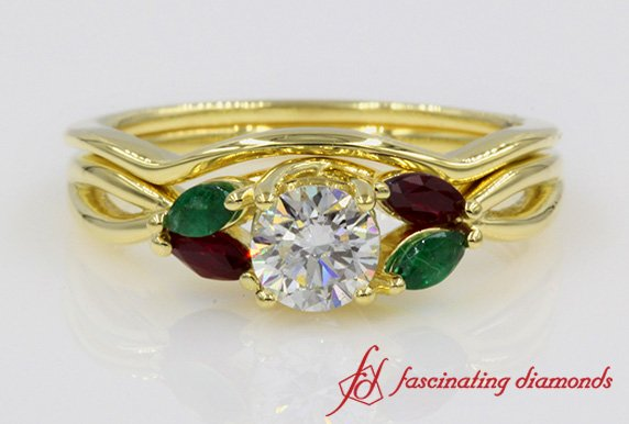 Customized Twisted Diamond Ring With Matching Band In 18k Gold