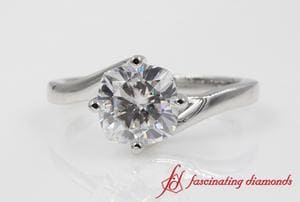 Customized Twisted Solitaire Engagement Ring In Platinum