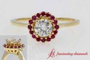 Dainty Round Diamond Ruby Halo Ring In Yellow Gold