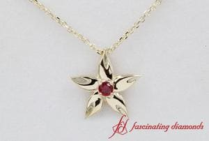 Daisy Ruby Solitaire Pendant