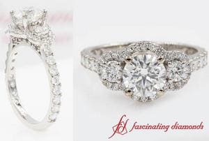 Delicate 3 Stone Halo Diamond Ring