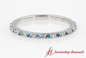 Diamond With Blue Topaz Wedding Ring