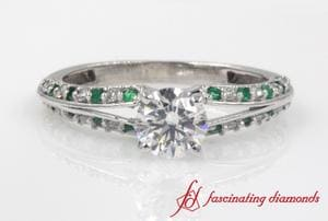 Delicate Split Round Diamond Ring With Emerald In Platinum