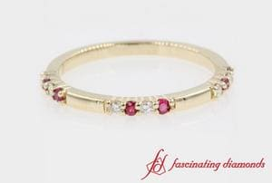 Delicate Stackable Diamond Wedding Band With Ruby In Gold