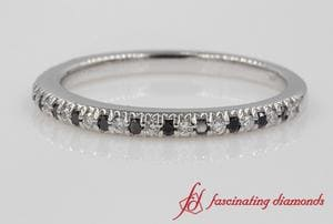 Delicate White & Black Diamond Wedding Band In White Gold