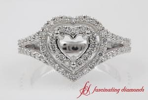 Diamond Double Halo Engagement Ring Setting In White Gold