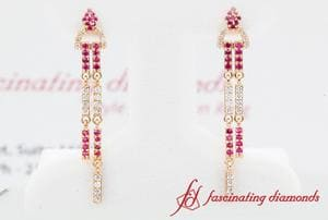 Diamond Drop Dangle Earring With Ruby In 18K Rose Gold