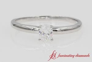 Diamond Oval Solitaire Ring In White Gold