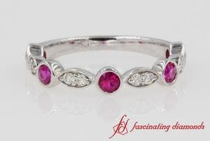 Diamond & Pink Sapphire Half Eternity Band In White Gold