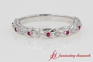 Diamond & Ruby Petal Band In White Gold