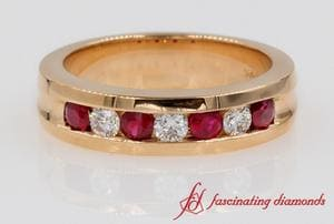 Diamond & Ruby Womens Wedding Band In 18k Rose Gold
