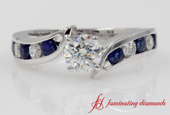 Diamond Tapered Twist Sapphire Wedding Ring In White Gold