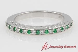 Diamond With Emerald Wedding Band