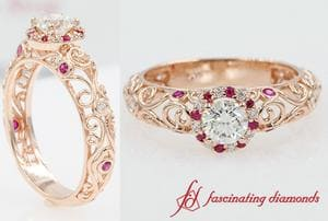 Dome Filigree Diamond Engagement Ring With Ruby In Rose Gold