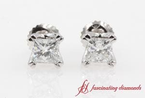 Double Prong Princess Cut Stud Earring(1 Ct.) In White Gold