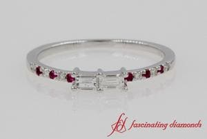 Dual Baguette Diamond Ring With Ruby