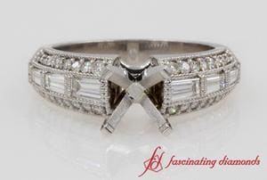 Edwardian Engagement Ring Setting In White Gold