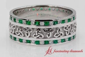 Emerald Celtic Knot Diamond Wedding Band In White Gold