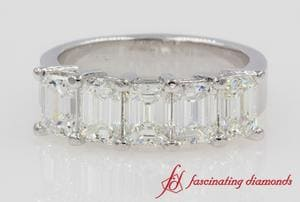 Emerald Cut 5 Stone Anniversary Band