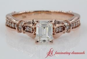 Emerald Cut Antique Petite Diamond Ring In Rose Gold