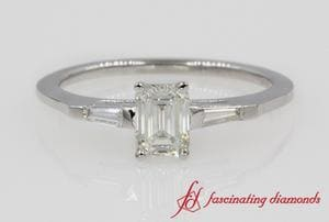 Emerald Cut & Baguette Diamond 3 Stone Ring In White Gold