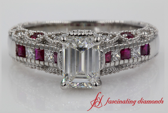 Emerald Cut Channel Set Engagement Ring