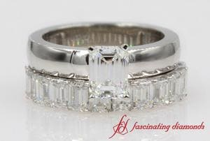 Emerald Cut Diamond Wedding Ring Set In Platinum
