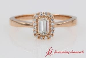 Emerald Cut Halo Diamond Ring In Rose Gold