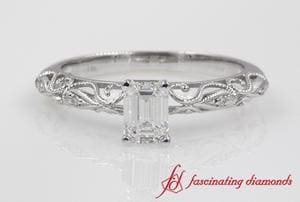 Emerald Cut Paisley Diamond Ring In Platinum