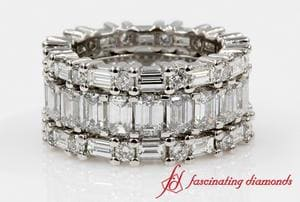 Emerald Cut with Round Diamond Eternity Band In White Gold