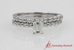Emerald Cut Simple Bar Wedding Set In White Gold