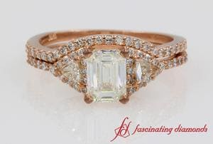 Emerald Cut Trillion Diamond Wedding Set