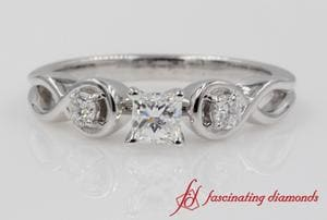 Engraved 3 Stone Engagement Ring In White Gold