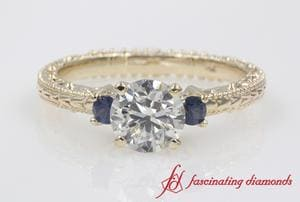 Engraved 3 Stone Round Cut Engagement Ring With Sapphire In Gold