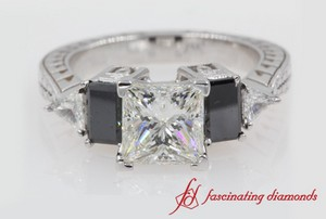 Engraved Princess Cut Ring
