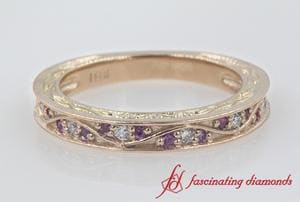 Engraved Sapphire & Diamond Vintage Band In 18k Rose Gold