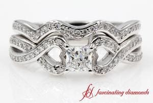 Entwine Pave Princess Diamond Wedding Ring Sets