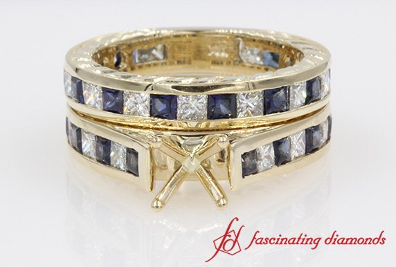 Eternity Princess Cut Diamond With Sapphire AntiqueWedding Ring Set Mount in Yellow Gold