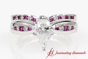 Channel Diamond & Pink Sapphire Bridal Set