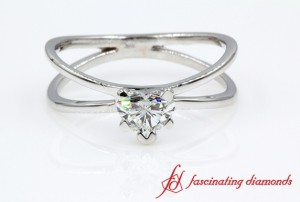 Split Shank Heart Shaped Solitaire Ring