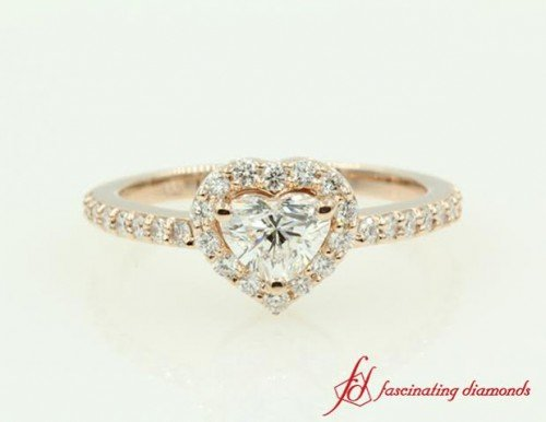 Rose Gold Halo Heart Diamond Ring